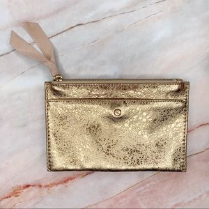 J. Crew Gold Metallic Leather Clutch Pouch Bag